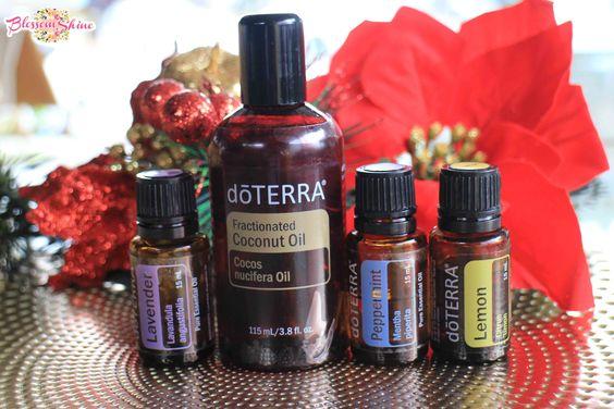 doTERRA Lavender Oil, doTERRA Fractionated Coconut Oil, doTERRA Peppermint Oil, doTERRA Lemon Oil