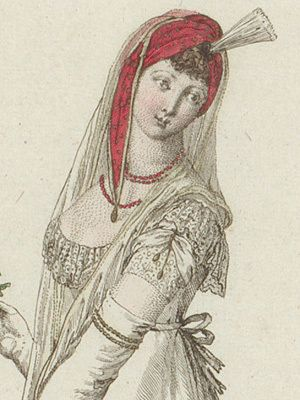 fashion plates of Regency sleeve styles, with hair and headgear details also