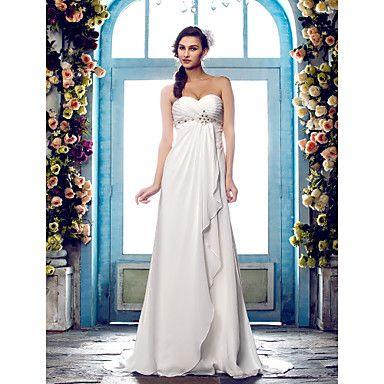 Lanting+Bride®+A-Linie+Extraklein+/+Übergrößen+Hochzeitskleid+-+Klassisch+&+Zeitlos+Pinsel+Schleppe+Herzausschnitt+Chiffon+mit+–+USD+$+109.99