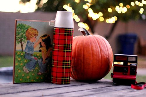 pumpkins, tartan flask, autumn