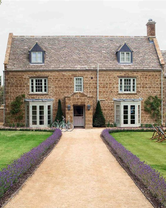 Lavender lined front door at Soho farmhouse