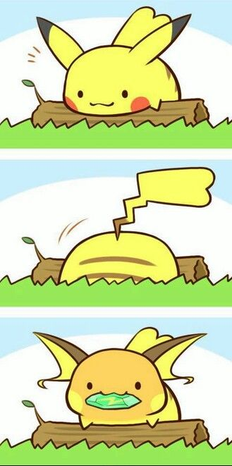 Pikachu discovered a Thunder Stone! Your Pikachu became a Raichu! look at his little face :3