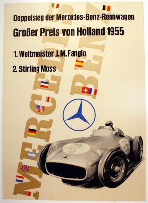 Mercedes Benz, Holland Grand Prix 1955 - original vintage poster listed on AntikBar.co.uk