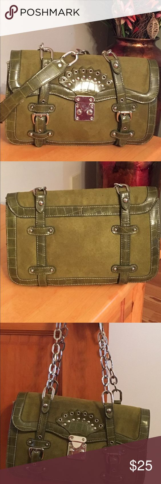 Nordstrom Alligator Print Trim/Suede 👜 Very pre-loved handbag. Rare design. I receive non-stop compliments on this bag!! Divided compartments with zip enclosure. Not perfect shape but lots of life. Price reflects and is firm. 11 x 8 x 3 in. Very clean. Handle shows a little wear. Nordstrom Bags Shoulder Bags