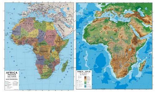Cartina Africa Politica E Fisica.Carta Africa Di Tipo Scolastico 100 X 140 Cm Fisico Un Lato