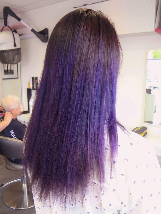 coloration mauve ombre ralise au salon hervou coiffure brest - Coloration Mauve