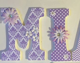 Nursery lettersSam PixiePink and Aqua by LoveyLettersbyLeah