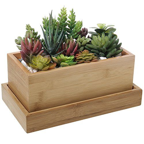 11 Inch Natural Bamboo Wooden Rectangular Window Box Planter With