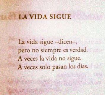 La vida sigue -dicen-, pero no siempre es verdad. A veces la vida no sigue. A veces solo pasan los días. Pablo Neruda
