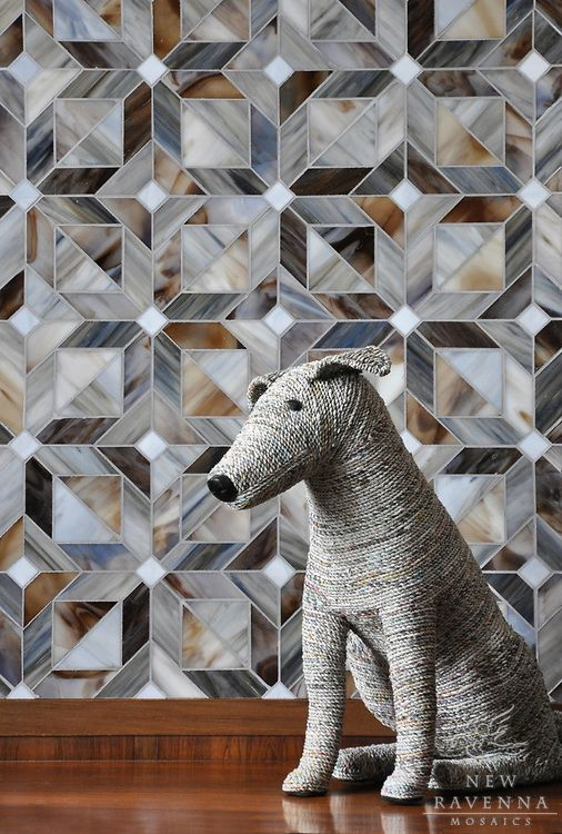 Rubrik tile by ravenna moisaics , a jewel glass waterjet mosaic shown in Pearl, Schist, and Lavastone, is part of the Parquet Line by Sara Baldwin for New Ravenna Mosaics.