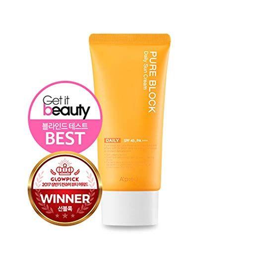 Amazon Com A Pieu Pure Block Natural Sun Cream Spf45 Pa