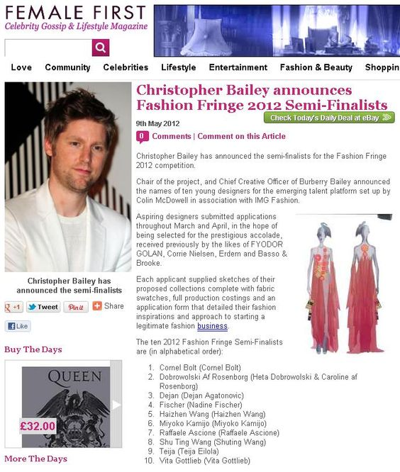 Fashion Fringe Semi Finalists announcement - Female First