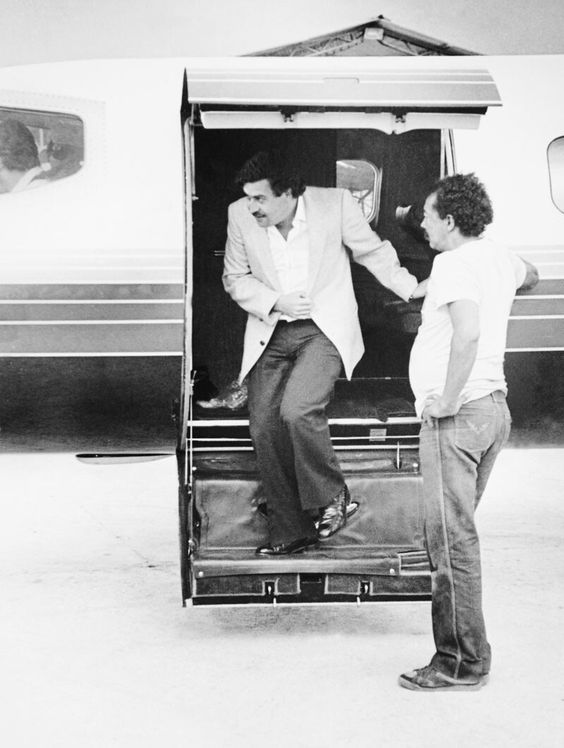 Pablo Escobar getting off his air plane