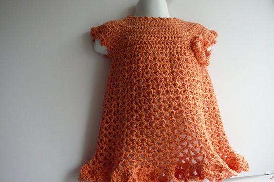 Crocheted Baby Girl Cotton Dress and Headband by fashionablekids