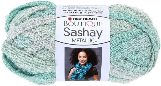 red heart boutique sashay metallic yarn-icy mint