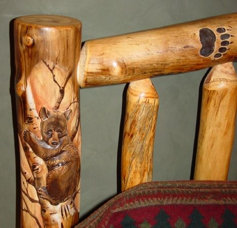 Detail of Bear - Hand-carved Log Bed Post - Can be added to most log beds.