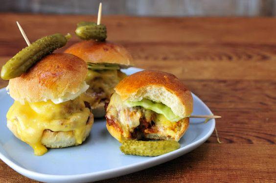 Mini Burgers with Chicken Bacon Meatballs with Marinara Sauce