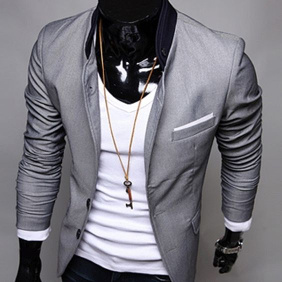 CLUB WEAR) Smart casual two button-stand up collar men suit jacket