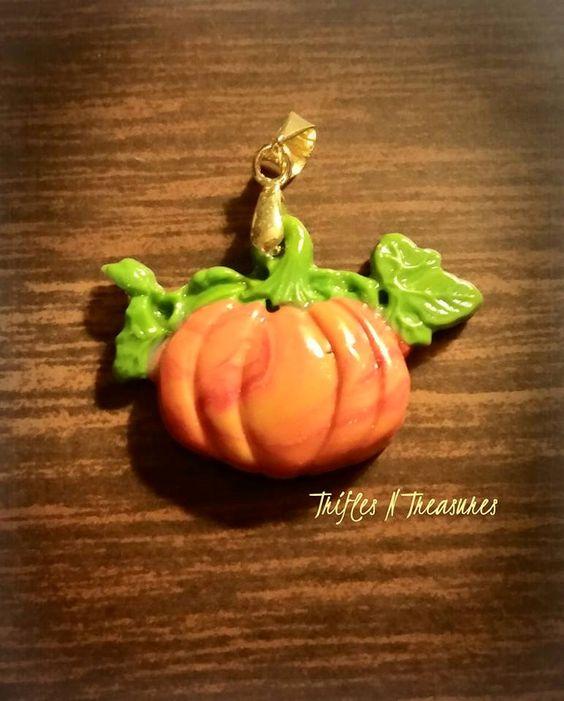 Polymer Clay Pumpkin Pendant by TNTPatterns on Etsy