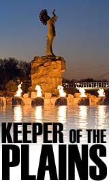 The Keeper of the Plains in Wichita, Kansas was created in 1974 and placed at the confluence of the Arkansas and Little Arkansas Rivers. The 44', 5 ton stylized sculpture of an Indian Chief was designed by Native American artist Blackbear Bosin (1921-1980). #Wichita