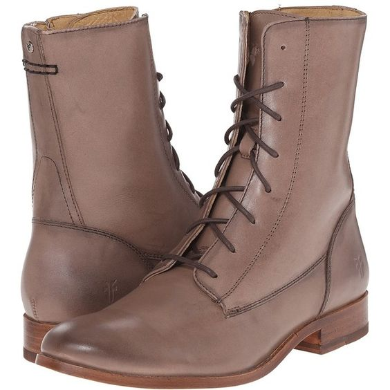 Frye Melissa Lace Short (Cement Smooth Vintage Leather) Cowboy Boots ($231) ❤ liked on Polyvore featuring shoes, boots, ankle booties, frye booties, short cowgirl boots, lace-up ankle boots, lace up bootie and lace-up ankle booties
