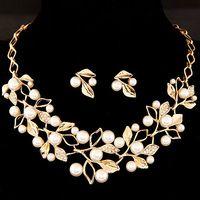 Collar Collares, Perlas Aretes, Boda Collar, Oro Cadena, Follaje, Sistemas, Complementos Moda, Pendientes, Mujeres