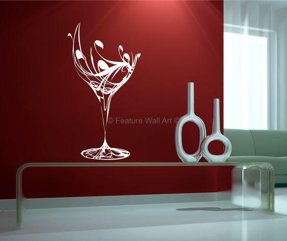 Wall Decor Wine Glasses : Decorative glass art wine vinyl wall