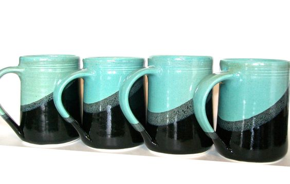 Set of 4 -16 oz Handmade Ceramic Mug -- Aqua - Black-- Hand crafted pottery-- Mugs for tea, cocoa, coffee. $60.00, via Etsy.