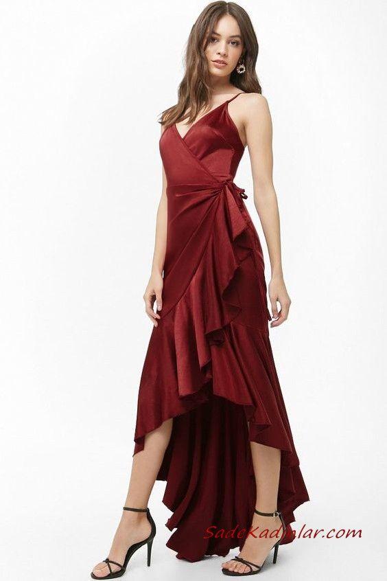 En Guzel Abiye Modelleri Bordo On Kisa Arkasi Uzun Askili V Yakali Firfirli Etek The Dress Elbiseler Moda Stilleri