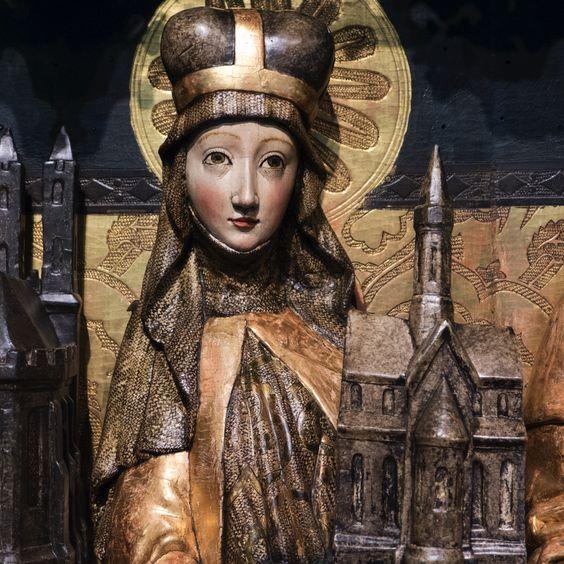 Muzeum Narodowe nos Wrocławiu - 47: Wrocław Taller del Maestro del Políptico Anunciación: Tríptico de Santa Eduvigis, de la iglesia de Santa Isabel Wrocław ~ 1470-80 (detalle):
