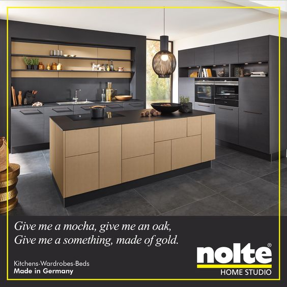 The Nappa kitchen has an island front in Nature mocha oak and the - nolte küchen fronten farben