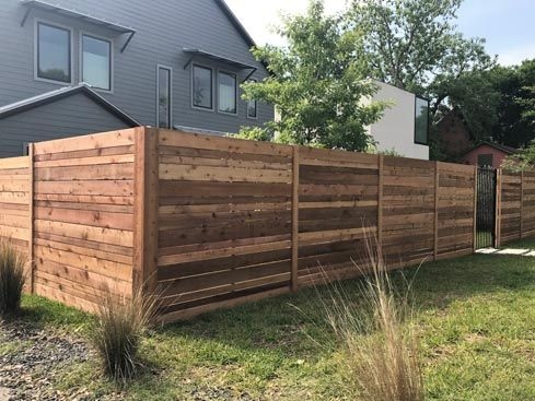 6ft Horizontal Semi Privacy Fence With Multi Width Pickets And
