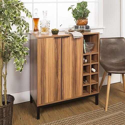 Walker Edison Furniture Co Bu34cobctk Bar Cabinet With Wine Storage Teak Bellacor Bar Furniture Wine Storage Modern Home Bar