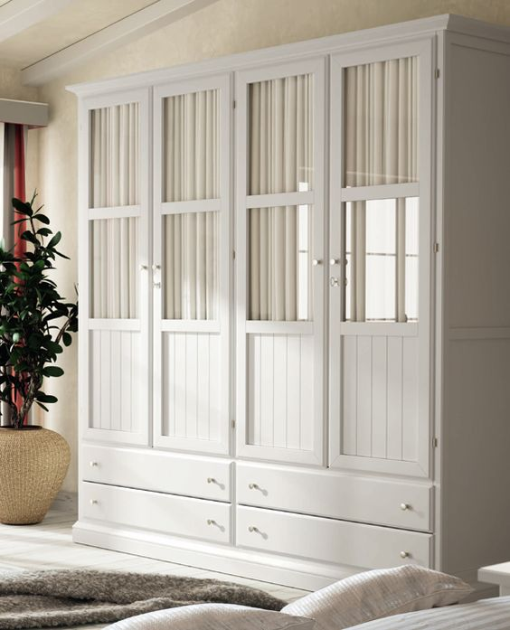 Armario cl sico con 4 puertas de cristal opciones for Muebles romanticos blancos