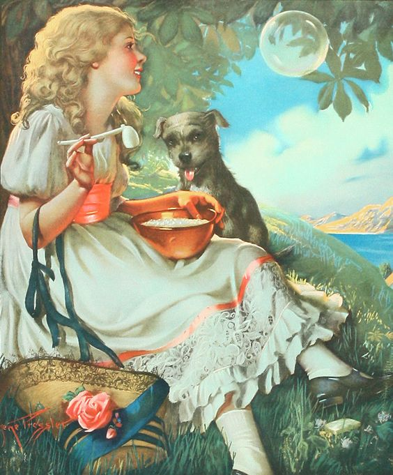 Gene Pressler 1932 Advertising Calendar Sample Pretty Girl Pup Blowing Bubbles | eBay