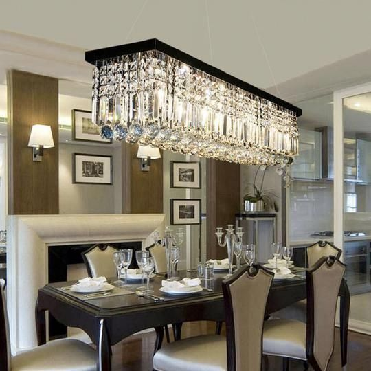 Beautiful Dining Room Double F Rectangular Raindrop Chandelier Crystal Pendant Dining Room Chandelier Dining Room Light Fixtures Crystal Chandelier Dining Room