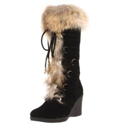 BEARPAW Women's Anja Fur Boot. Cute!