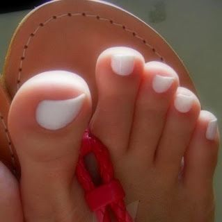 How to get white toenails: mix a small amount of baking soda and hydrogen peroxide together. Make into a paste. Get a tooth brush and scrub the paste onto your toenails. Then soak your toenails in the paste. Let them sit for 5-10 min. Then rinse off toes.   interesting