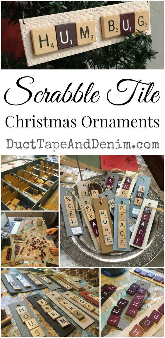 Scrabble Tile Christmas Ornaments DIY | DuctTapeAndDenim.com