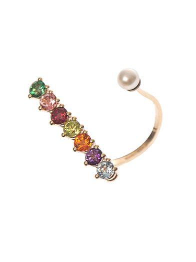 Delfina Delettrez Topaz, peridot, pearl & gold ring