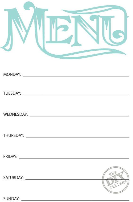 Free Printable Weekly Menu Planner Weekly menu planners, Menu - menu printable template