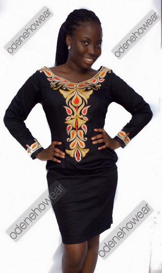 Hassan usure dames noir poli robe en coton avec broderie. par Odenehowear sur Etsy https://www.etsy.com/fr/listing/252850982/hassan-usure-dames-noir-poli-robe-en