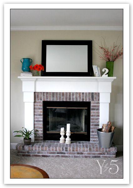 Bricks mantels and whitewashed brick on pinterest for Brick fireplace white mantle