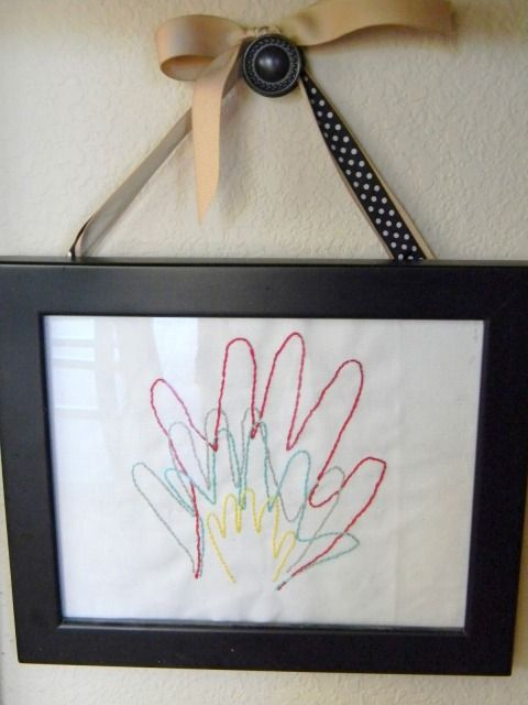 Freeze time w/ this memory filled craft- Embroidered Hand Prints of your kiddos