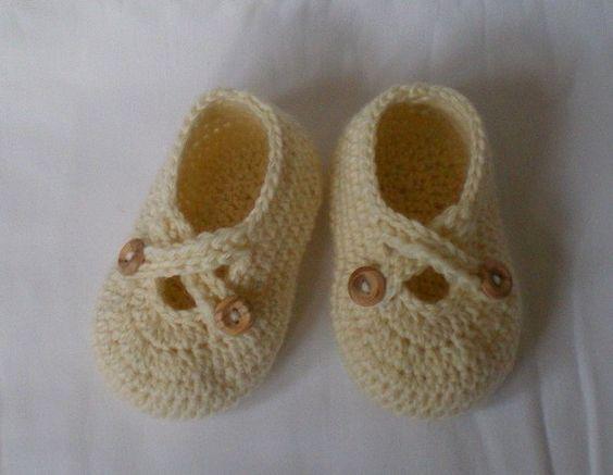 Crochet baby shoes | tejidos | Pinterest | Ganchillo para bebés ...