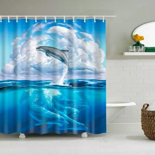 Dolphin Sea Fabric Shower Curtain Bathroom Boho Cozy Curtain