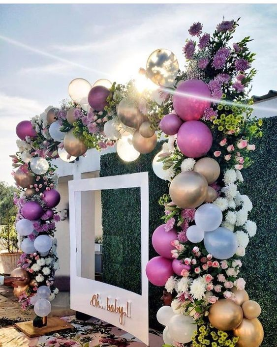 This Would Be Cute For A Wedding Photo Booth Backdrop Balloongarland Baby Shower Backdrop Wedding Decorations Balloon Decorations