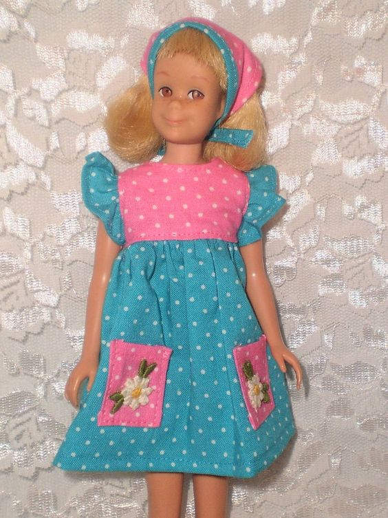 3 DAYS ONLY! OOAK TWO TONE DOTS DRESS & SCARF SET for Vintage Skipper, Skooter