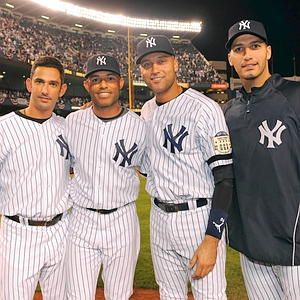 FEARSOME FOURSOME:  Jorge Posada (from left), Mariano Rivera,  Derek Jeter and Andy Pettitte posed at the final game at the old Yankee Stadium.