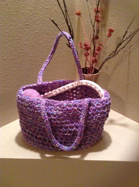 Tote Bag - a loom knit pattern | Bolsos, Hilos y lana y Martha stewart